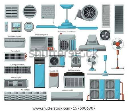 Air ventilator cartoon vector set icon.Vector illustration icon of ventilator equipment.Isolated cartoon set of air fan system. Photo stock ©