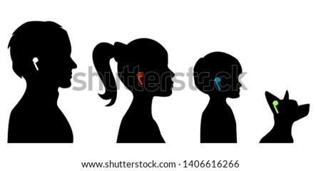 air wireless earphones. Silhouettes set of family with headphones pods - men, women, child boy, dog listen music. garniture in ears -vector illustration Stok fotoğraf ©