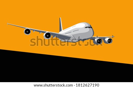 Airbus A380. Commercial jet airliner in the dawn sky. Vector drawing for illustrations. Stock photo ©