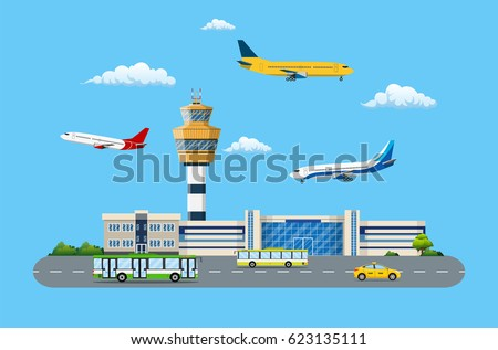 Aircraft above the ground. Airport control tower, terminal building and parking area. Road with bus and taxi. Sky with clouds and sun. Vector illustration in flat style
