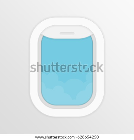 Aircraft,airplane windows with cloudy blue sky outside. Travel or tourism concept. Vector illustration in flat style. EPS 10.