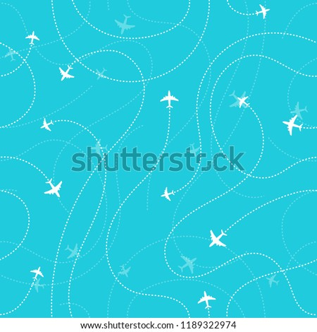 Aircraft destinations dark seamless background