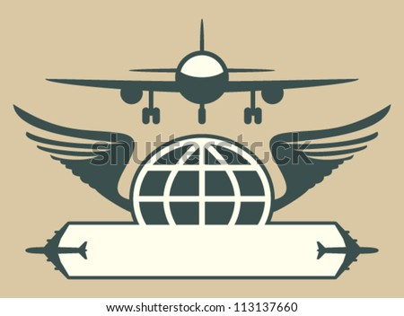 Aircraft emblem. Vector icon of plane, globe and wings