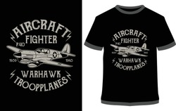 Aircraft Fighter Warhawk Trooplanes, Typography, T-shirt Graphics, For Sticker Or Printing For The T-shirt