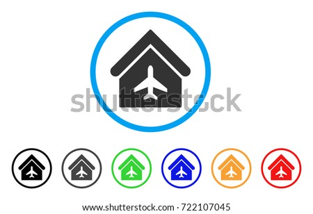 aircraft hangar rounded icon