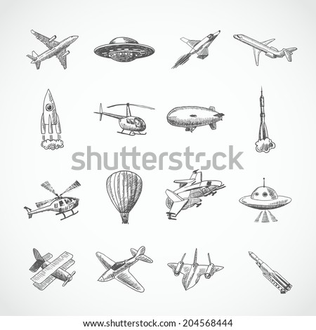 Aircraft helicopter military aviation airplane sketch icons set isolated vector illustration