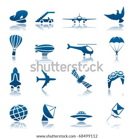 Aircraft icon set - stock vector