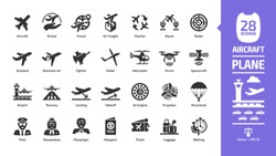 Aircraft icon set with flight plane glyph symbols: airplane, business jet, airport, fly aeroplane, commercial aviation, travel air, military fighter, airline, cargo aero transport landing and takeoff
