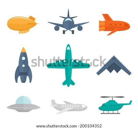 aircraft icons flat set of