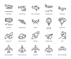 Aircraft Icons,  Monoline conceptThe icons were created on a 48x48 pixel aligned, perfect grid providing a clean and crisp appearance. Adjustable stroke weight.