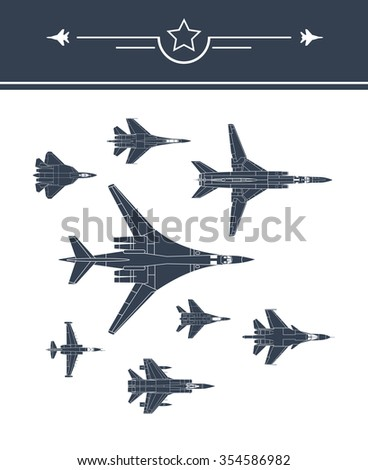 aircraft icons set 1 fighters