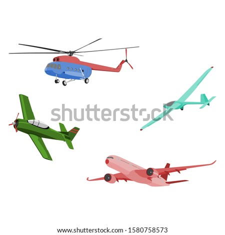 Aircraft Illustrations set vector: Helicopter, Warbird, Glider, and Jet Airliner - flat design style Сток-фото ©