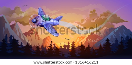 aircraft in the sunset forest
