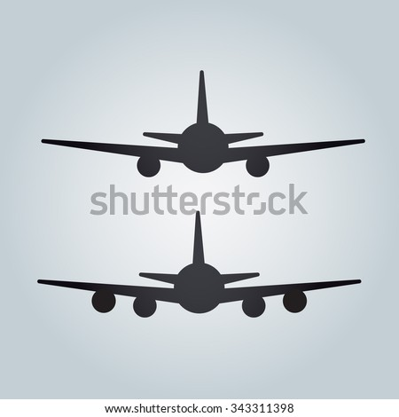 Aircraft or Airplane Icon, Flat Minimal Vector Silhouette on white background