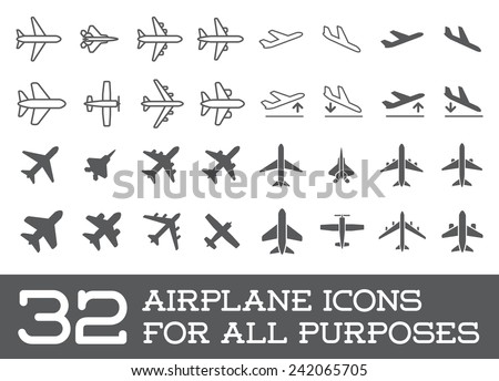 aircraft or airplane icons set