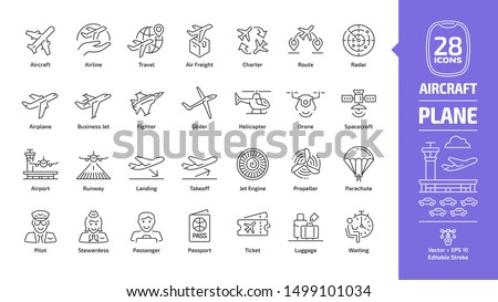 aircraft outline icon set with