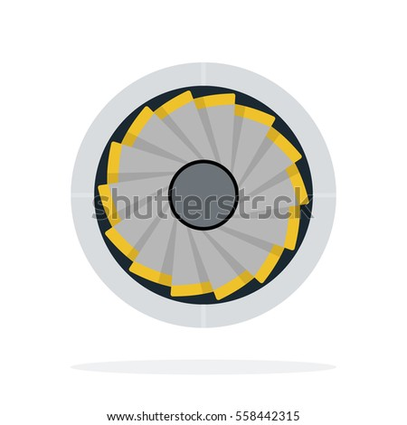 Aircraft turbine front view vector flat material design object. Isolated illustration on white background.