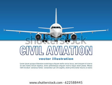 Aircraft vector. Banner, poster, flyer, card from plane against the background of the blue sky and text on a white backdrop. Jet commercial airplane in full face. Air travel concept flying airliner