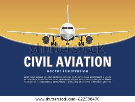 Aircraft vector. Banner, poster, flyer, card from plane on a yellow sunny background and text on a blue backdrop. Jet commercial airplane in full face. Air travel concept flying airliner