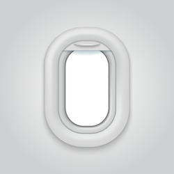 Aircraft window. Airplane realictic vector open illuminator. Plane porthole mockup, white airline vole