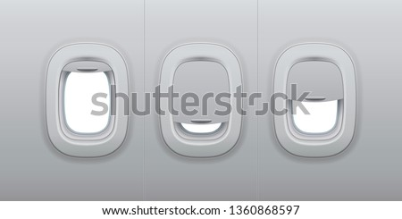 Aircraft windows. Airplane indoor portholes, plane interior window and fuselage glass porthole. Plastic or glass plane windows 3d vector isolated illustration set