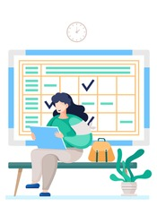 Airl with sheets of paper sitting in a work environment. Student prepares for her studies at a distance. Woman with schedule and watch on background. Female character sitting with portfolio or album
