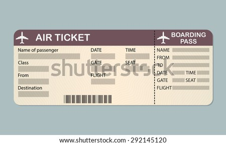 Airline Boarding Pass Ticket Template. Detailed Blank Of Airplane Ticket.  Vector Illustration.  Airline Ticket Template Word