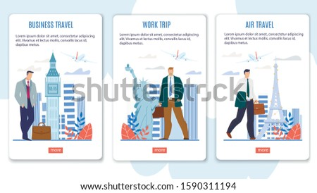 Airline Business Class Flights, World Work Trips Offer Trendy Flat Vector Web Banner, Landing Page Template. Businessmen with Briefcases Visiting Paris, London, New York in Business Illustration