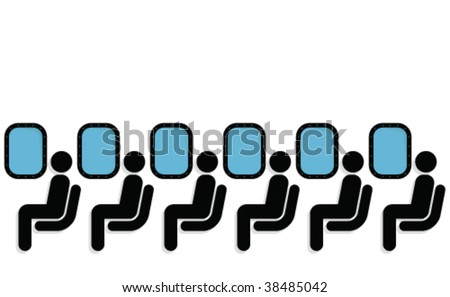 Airline passengers seated on a plane fully layered - stock vector