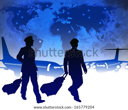 airline pilots with luggage in