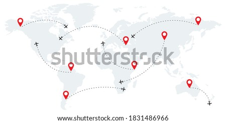 Airline route points. Plane flight with dashed path. Map of world wallpaper with planes. Globe concept on white background. Travel flight with pointer icons. Location sign. Vector EPS 10 Сток-фото ©