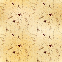 Airline routes, map on old textured paper, seamless pattern