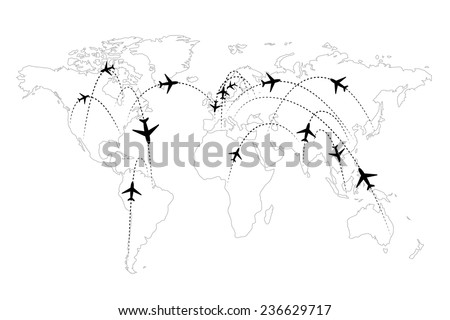 Airline routes on map black and white infographic