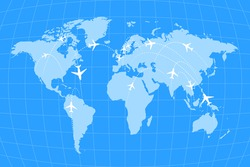Airline routes on worldwide map, blue and white infographic illustration