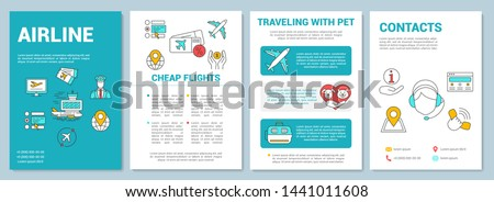 Airline services brochure template layout. Traveling with pets. Flyer, booklet, leaflet print design with linear illustrations. Vector page layouts for magazines, annual reports, advertising posters