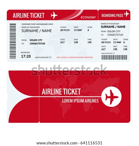 Airline ticket or boarding pass for traveling by plane isolated on white. Vector