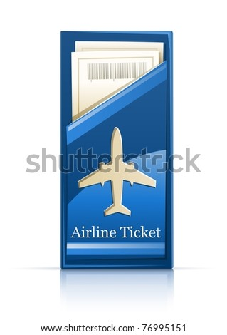airline ticket vector illustration isolated on white background - stock vector