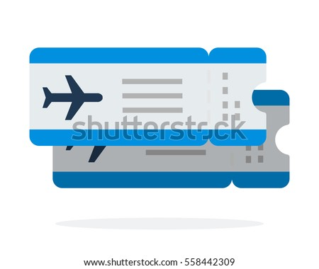Airline tickets, flights vector flat material design object. Isolated illustration on white background.