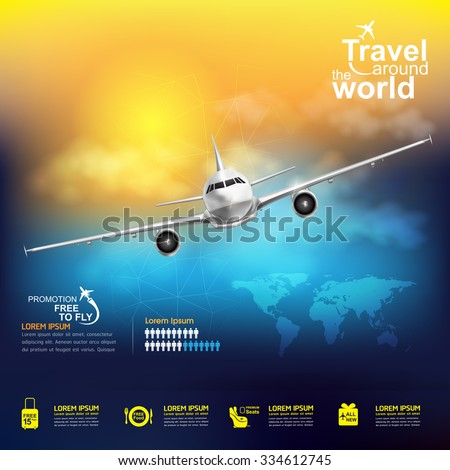 Airline Vector Concept Travel around the World stock photo