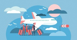 Airline vector illustration. Flat tiny sky transportation persons concept. Airplane journey departure to international holiday destination. Aviator, cabin crew, pilot and flight attendant occupation.