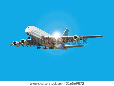 airliner flying against the sun