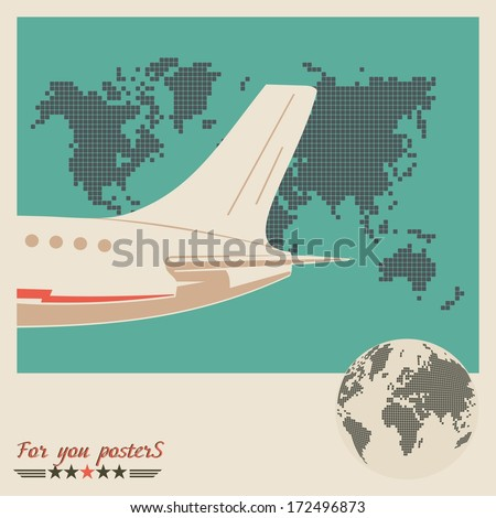 airliner on world map
