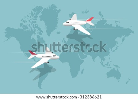 airlines  planes over world map