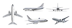 Airlines transportation concept. Vector airplane with yellow and blue stripes on white background. Airplane in top, side, front, back and bottom view. Vector aircraft illustration.