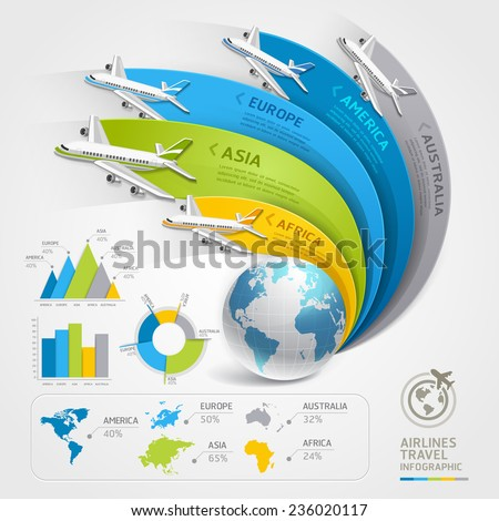 Airlines travel infographics. Vector illustration. Can be used for workflow layout, banner, diagram, web design, timeline template.