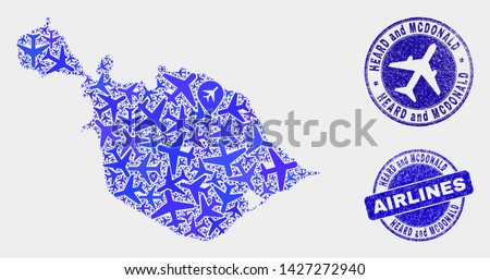 Airlines vector Heard and McDonald Islands map mosaic and scratched stamps. Abstract Heard and McDonald Islands map is formed from blue flat random aviation symbols and map locations.
