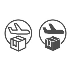 Airmail and cardboard package line and solid icon, delivery and logistic symbol, air freight carrier with parcel vector sign on white background, delivery cargo plane with box icon outline. Vector.