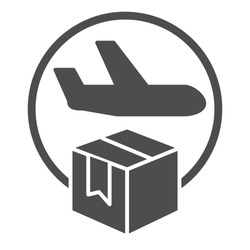 Airmail and cardboard package solid icon, delivery and logistic symbol, air freight carrier with parcel vector sign on white background, delivery cargo plane with box icon glyph. Vector.