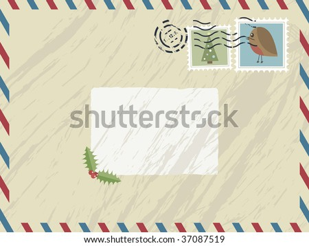 airmail envelope with festive stamps and text box