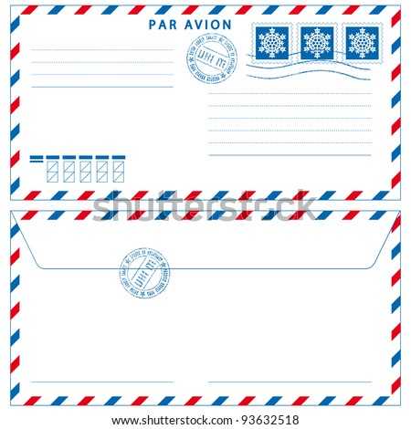 Airmail envelope with stamps on white